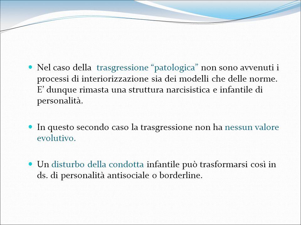 Nel caso della trasgressione patologica non sono avvenuti i processi di interiorizzazione sia dei modelli che delle norme. E dunque rimasta una strutt