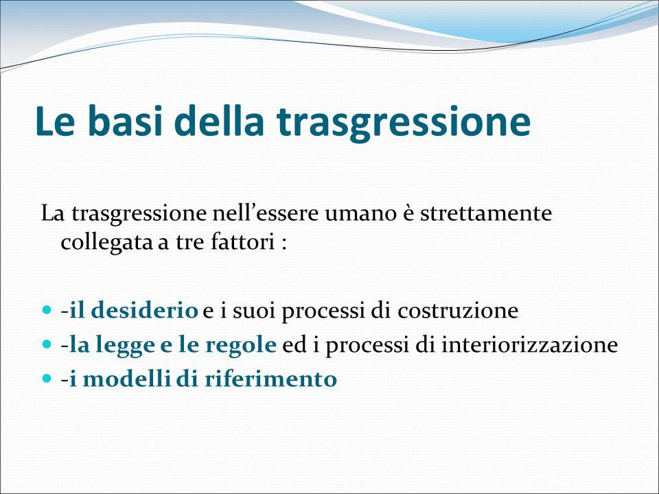 Le basi della trasgressione La trasgressione nellessere umano è strettamente collegata a tre fattori : -il desiderio e i suoi processi di costruzione