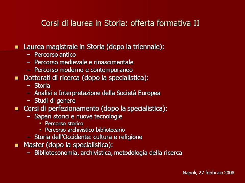 Laurea magistrale in Storia: ambiti occupazionali Scuola secondaria: Storia e Filosofia; Italiano e Storia (dopo la specialistica).