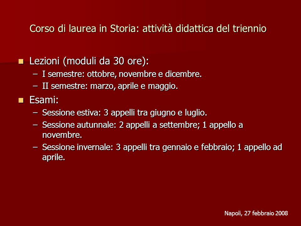 Corso di laurea in Storia: attività didattica del triennio Lezioni (moduli da 30 ore): Lezioni (moduli da 30 ore): –I semestre: ottobre, novembre e di