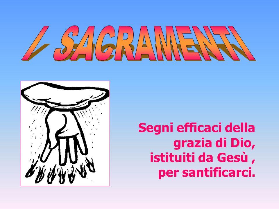 Segni efficaci della grazia di Dio, istituiti da Gesù, per santificarci.