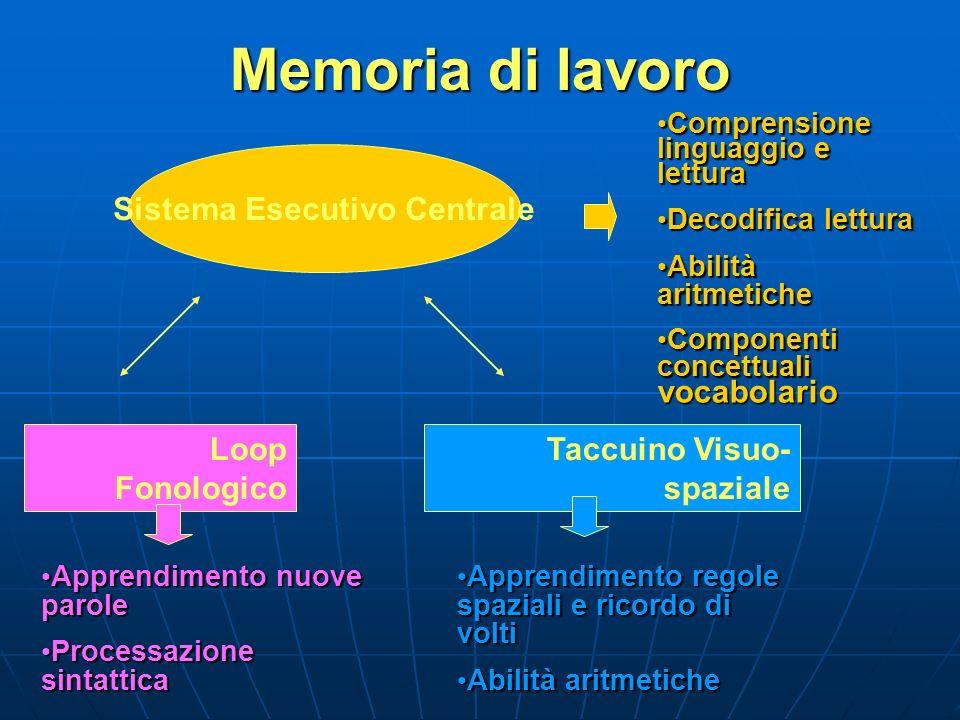 Memoria di lavoro Sistema Esecutivo Centrale Loop Fonologico Taccuino Visuo- spaziale Comprensione linguaggio e lettura Comprensione linguaggio e lett