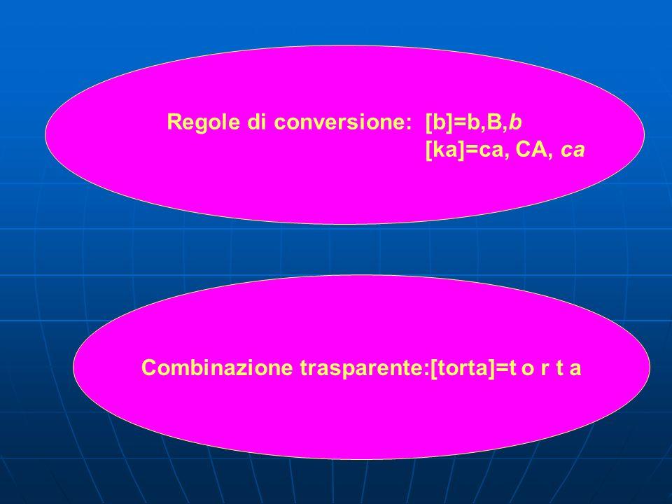 Regole di conversione: [b]=b,B,b [ka]=ca, CA, ca Combinazione trasparente:[torta]=t o r t a
