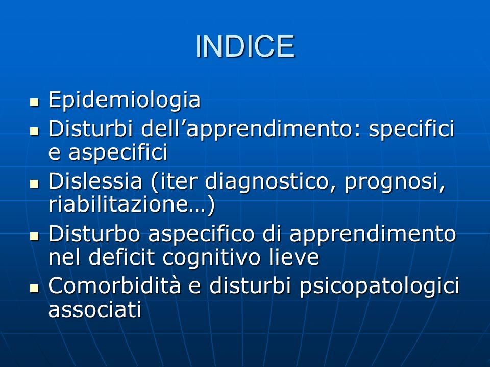 INDICE Epidemiologia Epidemiologia Disturbi dellapprendimento: specifici e aspecifici Disturbi dellapprendimento: specifici e aspecifici Dislessia (it