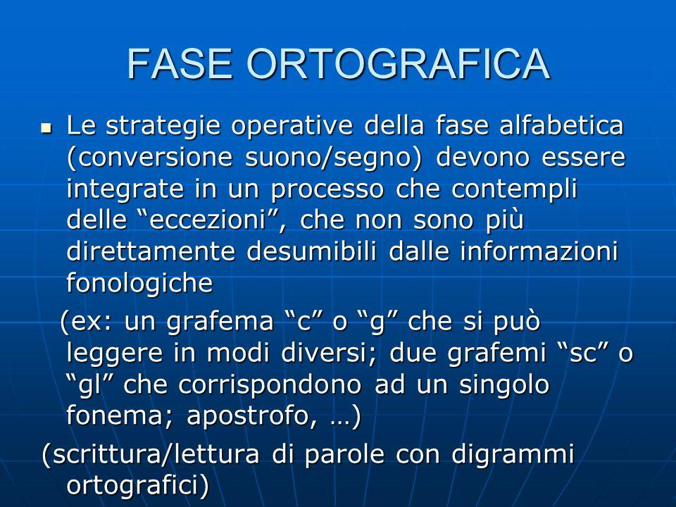 FASE ORTOGRAFICA Le strategie operative della fase alfabetica (conversione suono/segno) devono essere integrate in un processo che contempli delle ecc