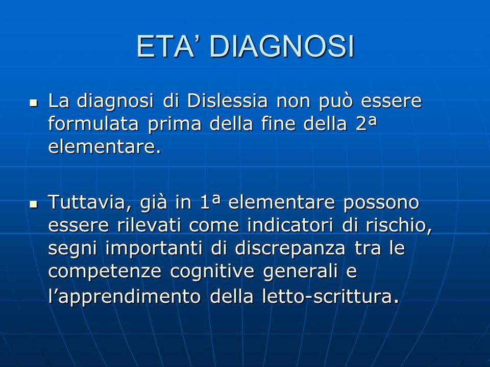 ETA DIAGNOSI La diagnosi di Dislessia non può essere formulata prima della fine della 2ª elementare. La diagnosi di Dislessia non può essere formulata
