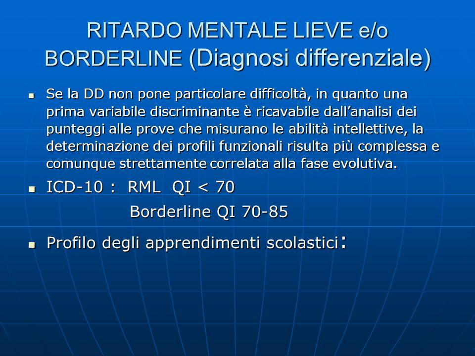 RITARDO MENTALE LIEVE e/o BORDERLINE (Diagnosi differenziale) Se la DD non pone particolare difficoltà, in quanto una prima variabile discriminante è