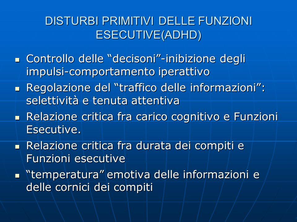 DISTURBI PRIMITIVI DELLE FUNZIONI ESECUTIVE(ADHD) Controllo delle decisoni-inibizione degli impulsi-comportamento iperattivo Controllo delle decisoni-