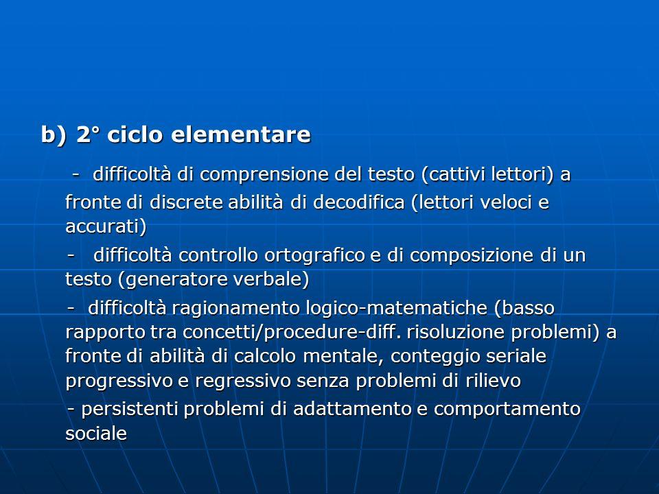 b) 2° ciclo elementare - difficoltà di comprensione del testo (cattivi lettori) a fronte di discrete abilità di decodifica (lettori veloci e accurati)