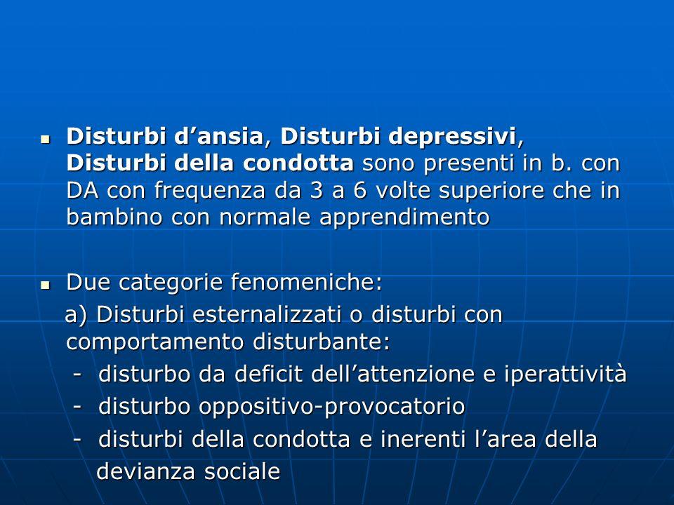 Disturbi dansia, Disturbi depressivi, Disturbi della condotta sono presenti in b. con DA con frequenza da 3 a 6 volte superiore che in bambino con nor