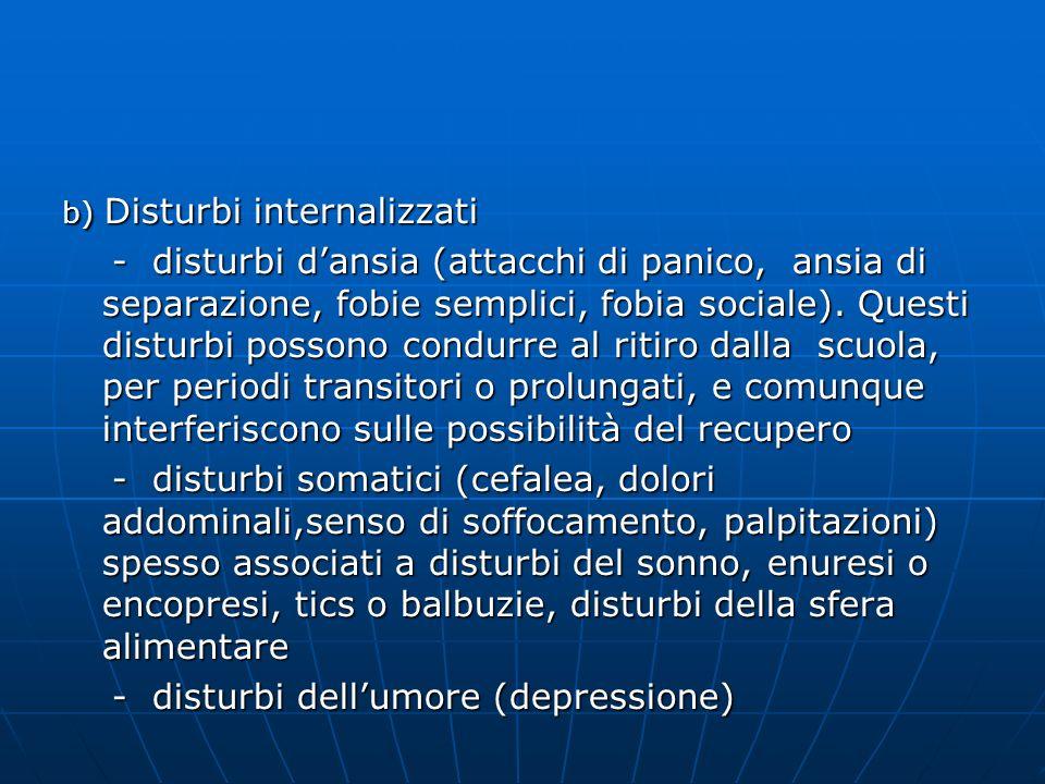 b) Disturbi internalizzati - disturbi dansia (attacchi di panico, ansia di separazione, fobie semplici, fobia sociale). Questi disturbi possono condur