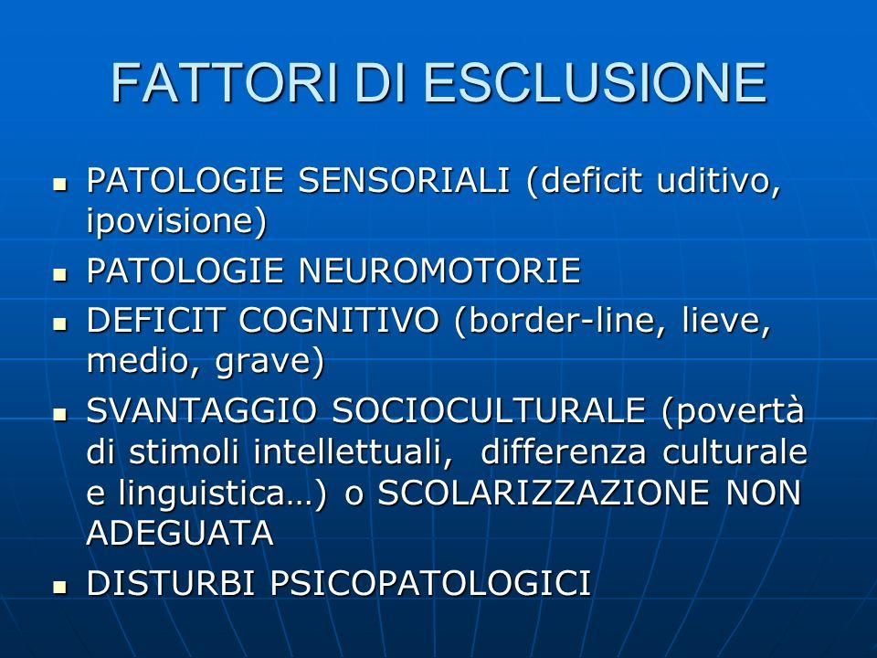 FATTORI DI ESCLUSIONE PATOLOGIE SENSORIALI (deficit uditivo, ipovisione) PATOLOGIE SENSORIALI (deficit uditivo, ipovisione) PATOLOGIE NEUROMOTORIE PAT