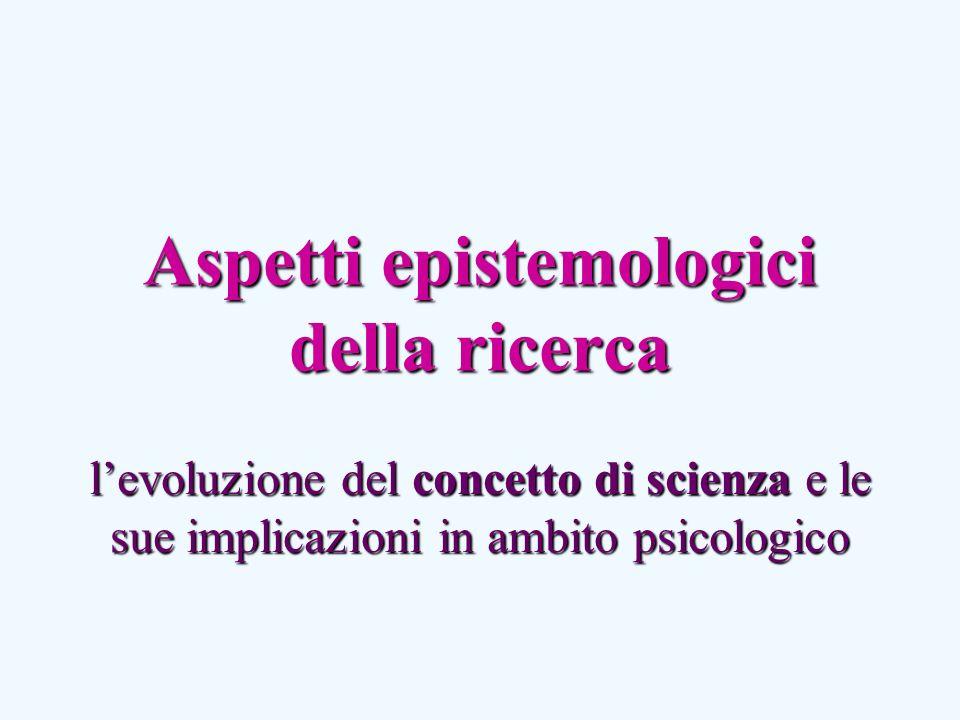 Aspetti epistemologici della ricerca levoluzione del concetto di scienza e le sue implicazioni in ambito psicologico