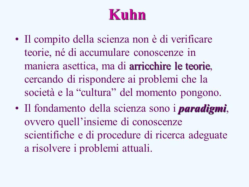 Kuhn arricchire le teorieIl compito della scienza non è di verificare teorie, né di accumulare conoscenze in maniera asettica, ma di arricchire le teorie, cercando di rispondere ai problemi che la società e la cultura del momento pongono.