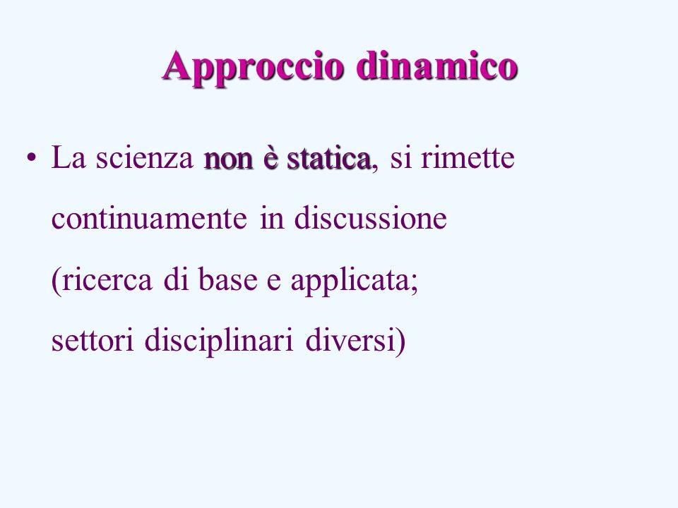 Approccio dinamico non è staticaLa scienza non è statica, si rimette continuamente in discussione (ricerca di base e applicata; settori disciplinari diversi)
