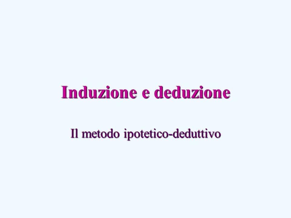 Induzione e deduzione Il metodo ipotetico-deduttivo