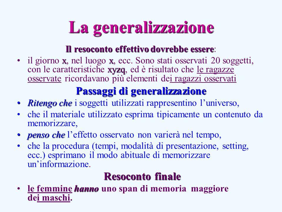 La generalizzazione Il resoconto effettivo dovrebbe essere Il resoconto effettivo dovrebbe essere: xx xyzqil giorno x, nel luogo x, ecc.