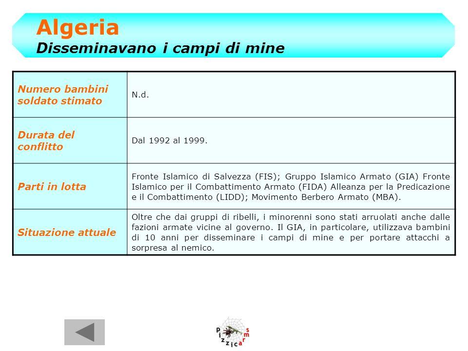 Algeria Disseminavano i campi di mine Numero bambini soldato stimato N.d.