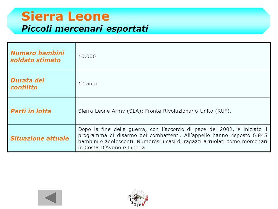 Sierra Leone Piccoli mercenari esportati Numero bambini soldato stimato 10.000 Durata del conflitto 10 anni Parti in lotta Sierra Leone Army (SLA); Fronte Rivoluzionario Unito (RUF).
