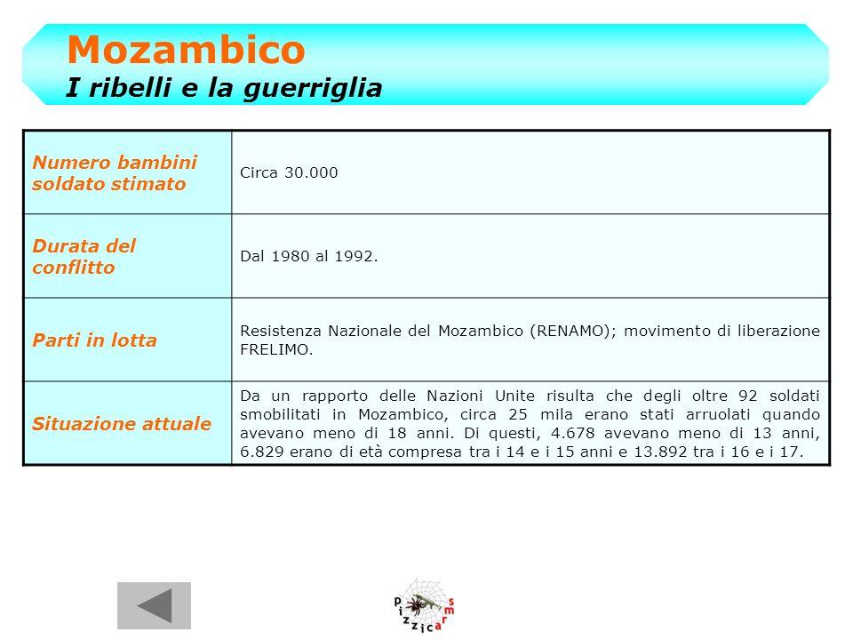 Mozambico I ribelli e la guerriglia Numero bambini soldato stimato Circa 30.000 Durata del conflitto Dal 1980 al 1992.