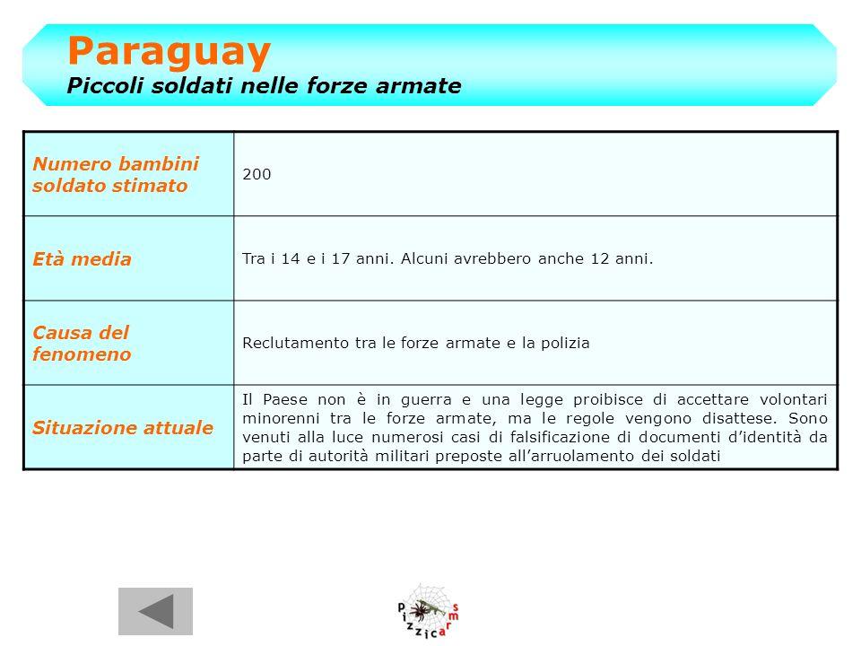 Paraguay Piccoli soldati nelle forze armate Numero bambini soldato stimato 200 Età media Tra i 14 e i 17 anni.
