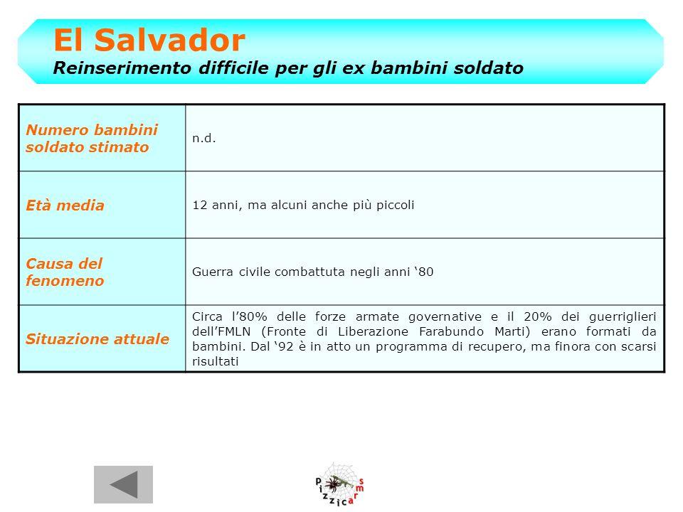 El Salvador Reinserimento difficile per gli ex bambini soldato Numero bambini soldato stimato n.d.
