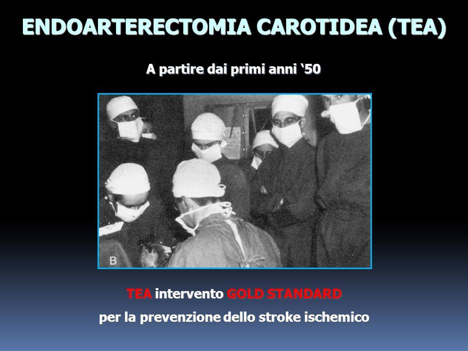 TEA intervento GOLD STANDARD per la prevenzione dello stroke ischemico A partire dai primi anni 50 ENDOARTERECTOMIA CAROTIDEA (TEA)