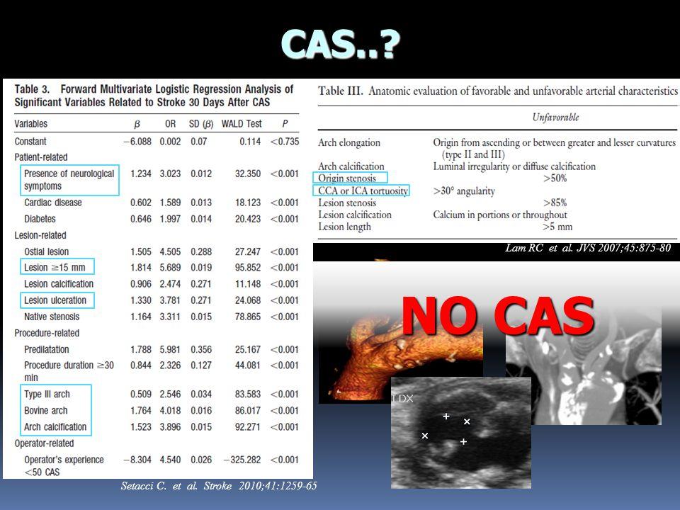 CAS..? Setacci C. et al. Stroke 2010;41:1259-65 Lam RC et al. JVS 2007;45:875-80 NO CAS