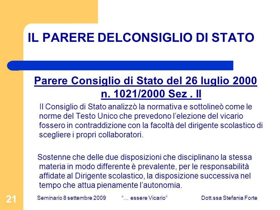 21 IL PARERE DELCONSIGLIO DI STATO Parere Consiglio di Stato del 26 luglio 2000 n.