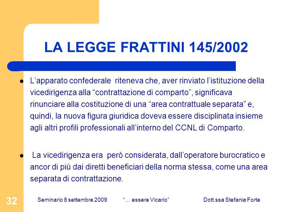 32 LA LEGGE FRATTINI 145/2002 Lapparato confederale riteneva che, aver rinviato listituzione della vicedirigenza alla contrattazione di comparto, sign