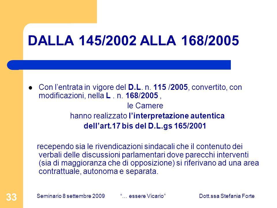 33 DALLA 145/2002 ALLA 168/2005 Con lentrata in vigore del D.L.