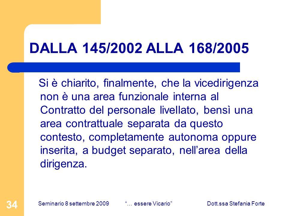34 DALLA 145/2002 ALLA 168/2005 Si è chiarito, finalmente, che la vicedirigenza non è una area funzionale interna al Contratto del personale livellato, bensì una area contrattuale separata da questo contesto, completamente autonoma oppure inserita, a budget separato, nellarea della dirigenza.