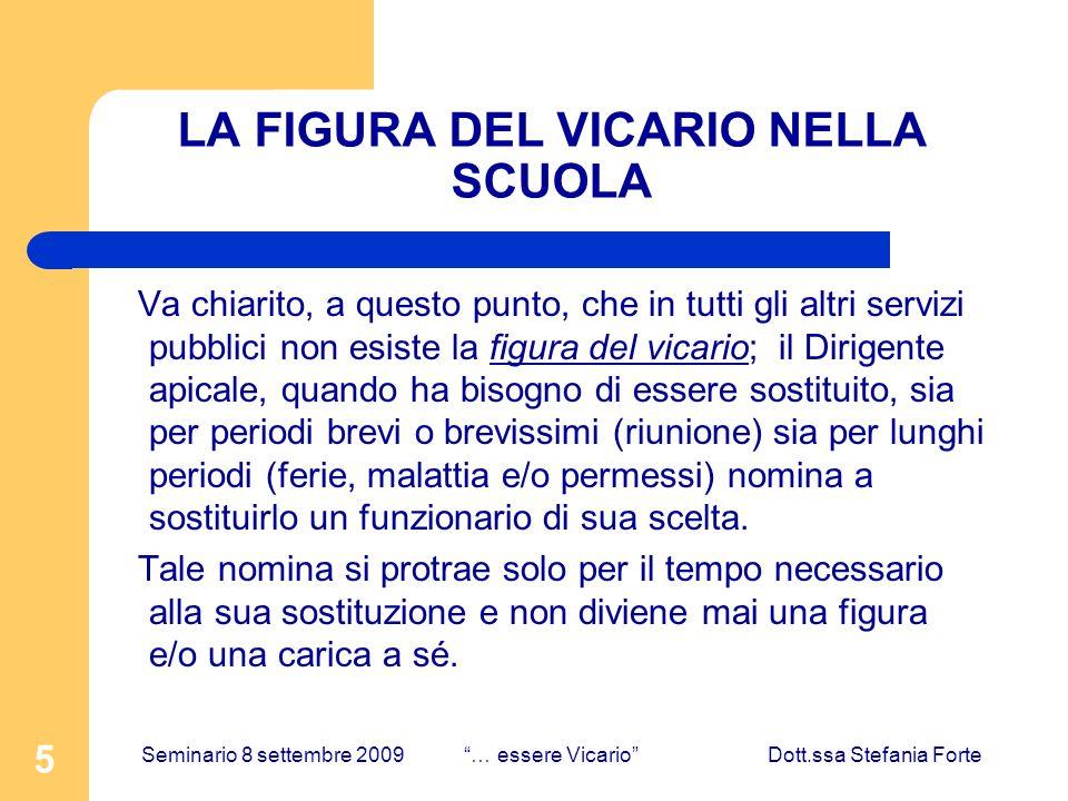 5 LA FIGURA DEL VICARIO NELLA SCUOLA Va chiarito, a questo punto, che in tutti gli altri servizi pubblici non esiste la figura del vicario; il Dirigen