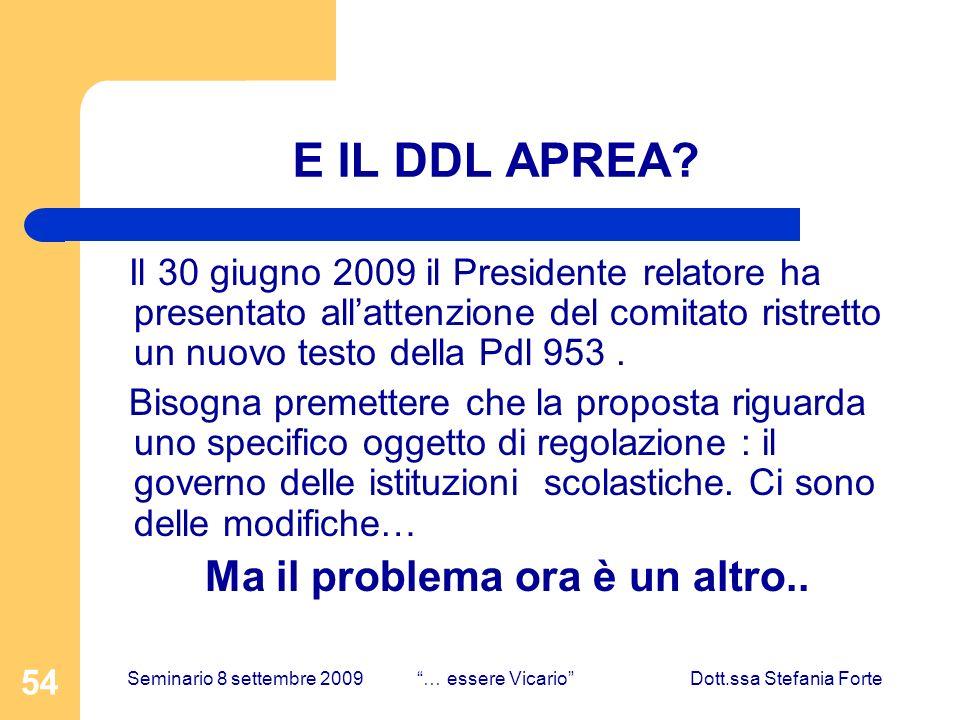 54 E IL DDL APREA? Il 30 giugno 2009 il Presidente relatore ha presentato allattenzione del comitato ristretto un nuovo testo della Pdl 953. Bisogna p