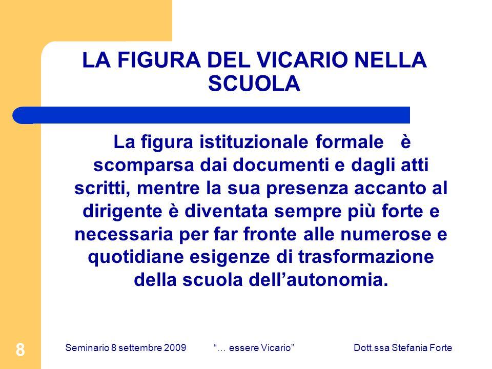 8 LA FIGURA DEL VICARIO NELLA SCUOLA La figura istituzionale formale è scomparsa dai documenti e dagli atti scritti, mentre la sua presenza accanto al
