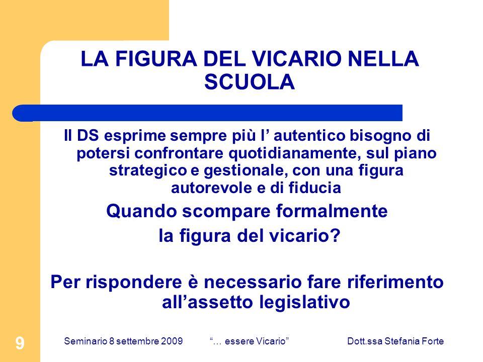 9 LA FIGURA DEL VICARIO NELLA SCUOLA Il DS esprime sempre più l autentico bisogno di potersi confrontare quotidianamente, sul piano strategico e gesti