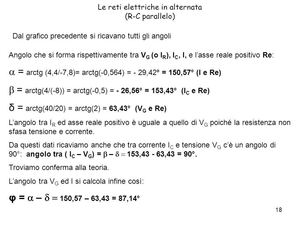 18 Le reti elettriche in alternata (R-C parallelo) Dal grafico precedente si ricavano tutti gli angoli Angolo che si forma rispettivamente tra V G (o I R ), I C, I, e lasse reale positivo Re: = arctg (4,4/-7,8)= arctg(-0,564) = - 29,42° = 150,57° (I e Re) = arctg(4/(-8)) = arctg(-0,5) = - 26,56° = 153,43° (I C e Re) δ = arctg(40/20) = arctg(2) = 63,43° (V G e Re) Langolo tra I R ed asse reale positivo è uguale a quello di V G poiché la resistenza non sfasa tensione e corrente.