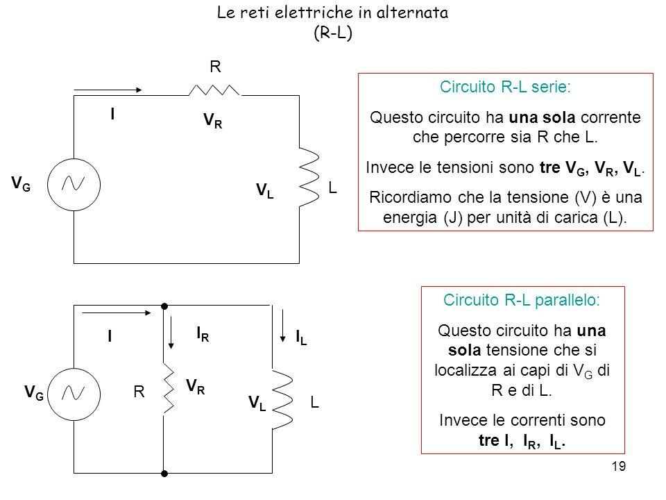 19 Le reti elettriche in alternata (R-L) L Circuito R-L serie: Questo circuito ha una sola corrente che percorre sia R che L.