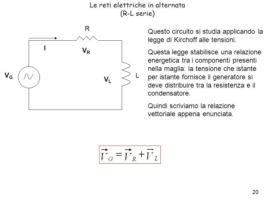 20 Le reti elettriche in alternata (R-L serie) Questo circuito si studia applicando la legge di Kirchoff alle tensioni.