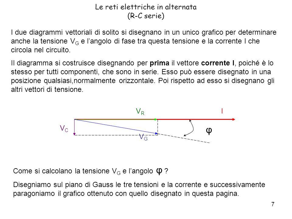 7 Le reti elettriche in alternata (R-C serie) I due diagrammi vettoriali di solito si disegnano in un unico grafico per determinare anche la tensione V G e langolo di fase tra questa tensione e la corrente I che circola nel circuito.