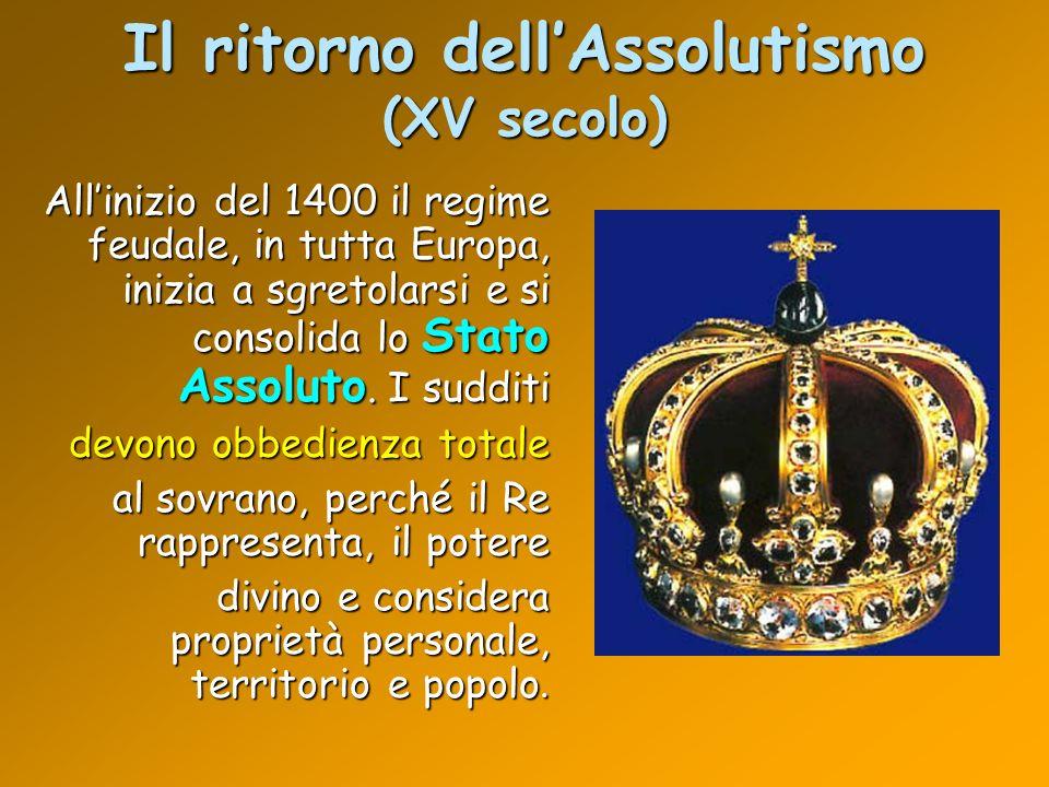 Il ritorno dellAssolutismo (XV secolo) Allinizio del 1400 il regime feudale, in tutta Europa, inizia a sgretolarsi e si consolida lo Stato Assoluto. I