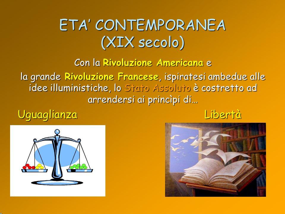 ETA CONTEMPORANEA (XIX secolo) Con la Rivoluzione Americana e la grande Rivoluzione Francese, ispiratesi ambedue alle idee illuministiche, lo Stato As