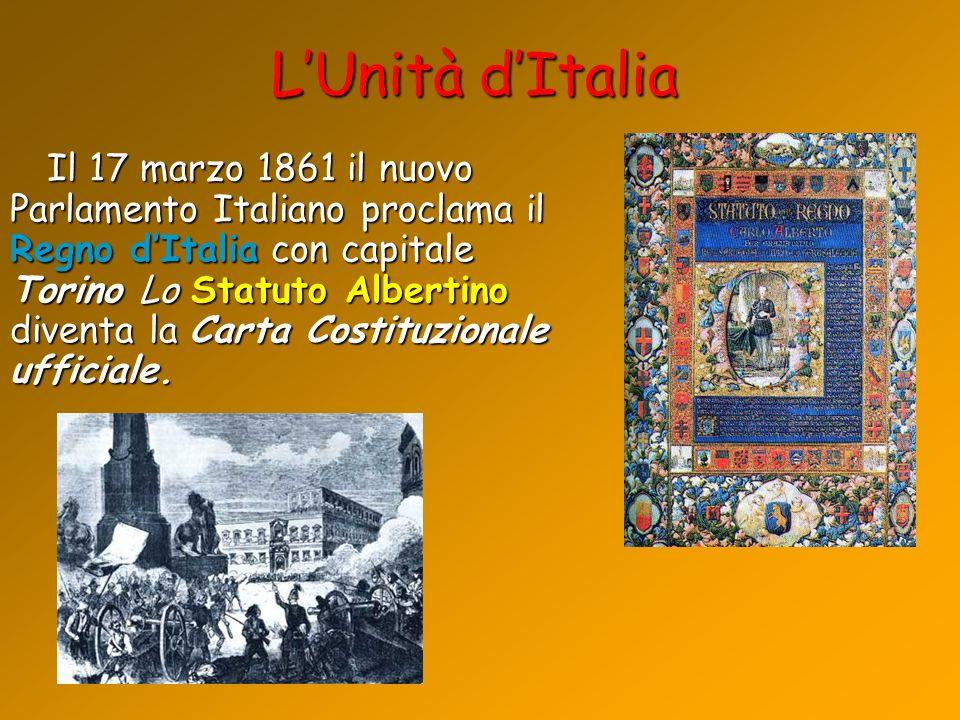 LUnità dItalia Il 17 marzo 1861 il nuovo Parlamento Italiano proclama il Regno dItalia con capitale Torino Lo Statuto Albertino diventa la Carta Costi