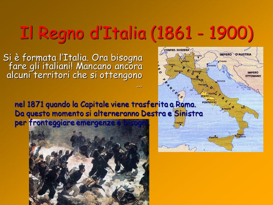 Il Regno dItalia (1861 - 1900) Si è formata lItalia. Ora bisogna fare gli italiani! Mancano ancora alcuni territori che si ottengono … nel 1871 quando