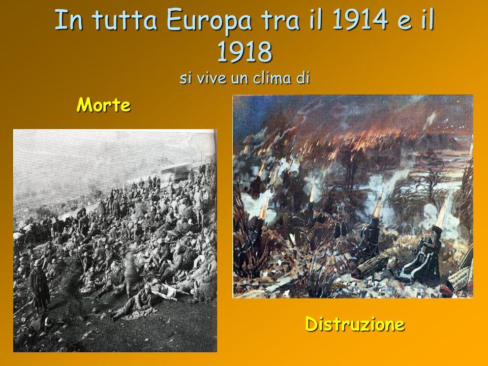 In tutta Europa tra il 1914 e il 1918 si vive un clima di Morte Distruzione