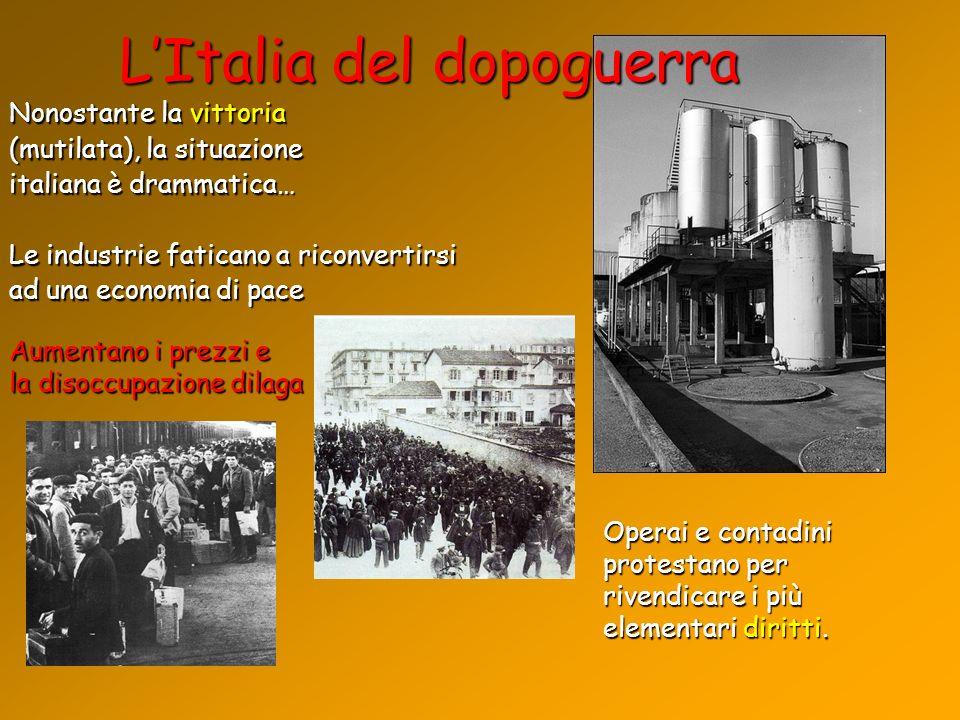 Nonostante la vittoria (mutilata), la situazione italiana è drammatica… Le industrie faticano a riconvertirsi ad una economia di pace LItalia del dopo