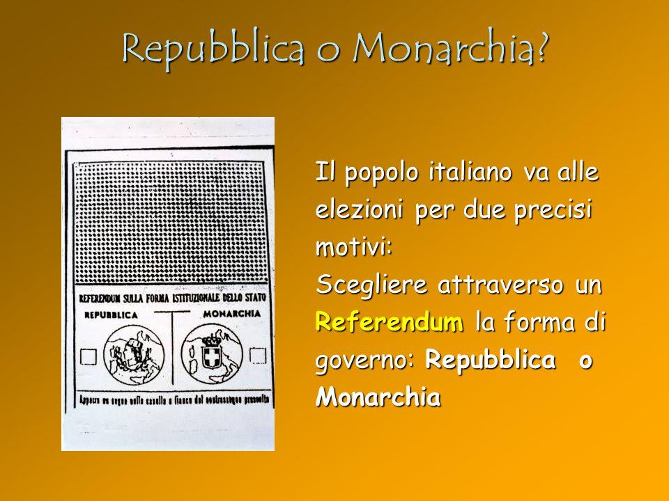 Repubblica o Monarchia? Il popolo italiano va alle elezioni per due precisi motivi: Scegliere attraverso un Referendum la forma di governo: Repubblica