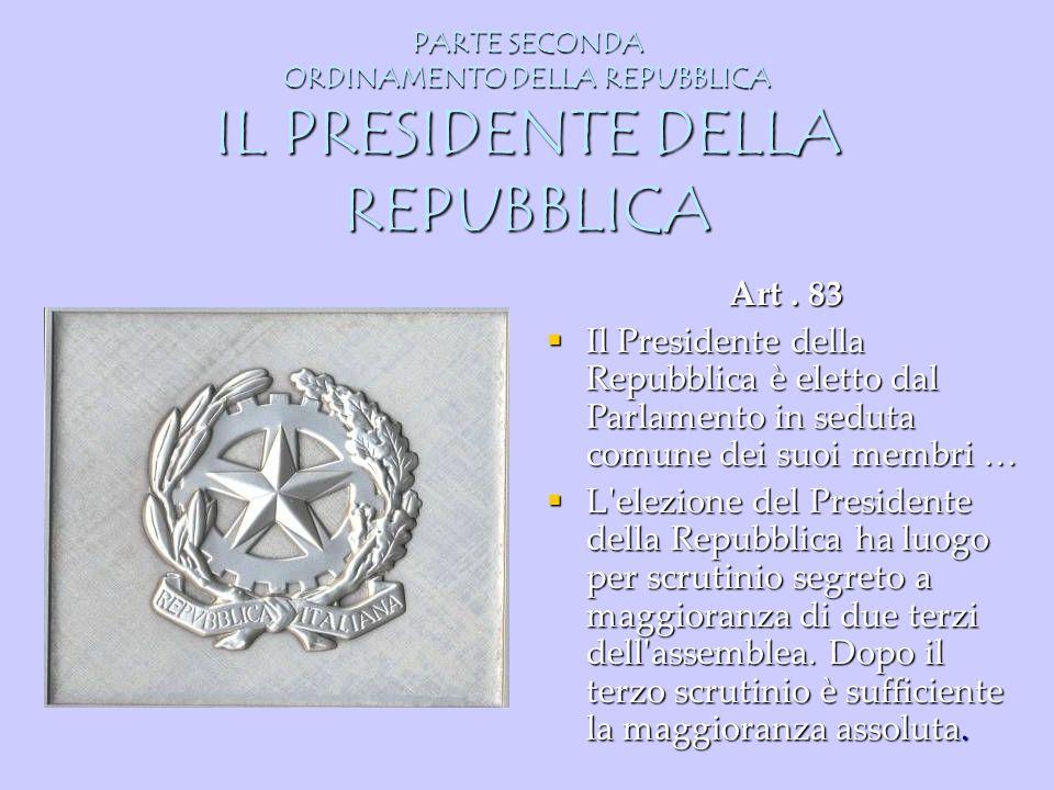 PARTE SECONDA ORDINAMENTO DELLA REPUBBLICA IL PRESIDENTE DELLA REPUBBLICA Art. 83 Il Presidente della Repubblica è eletto dal Parlamento in seduta com