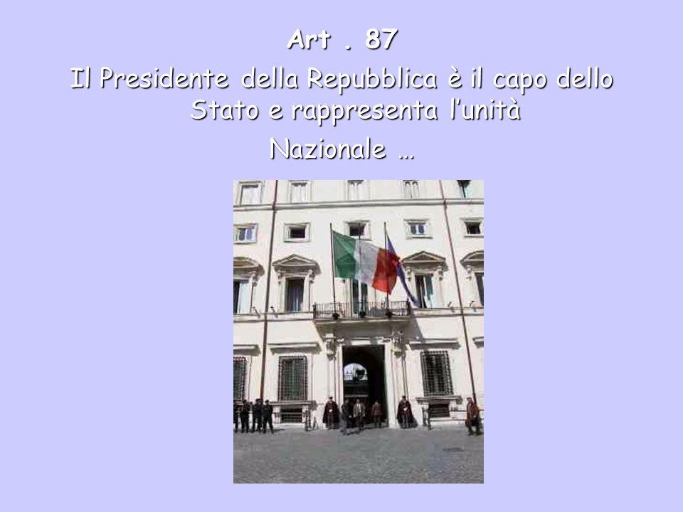 Art. 87 Il Presidente della Repubblica è il capo dello Stato e rappresenta lunità Nazionale …