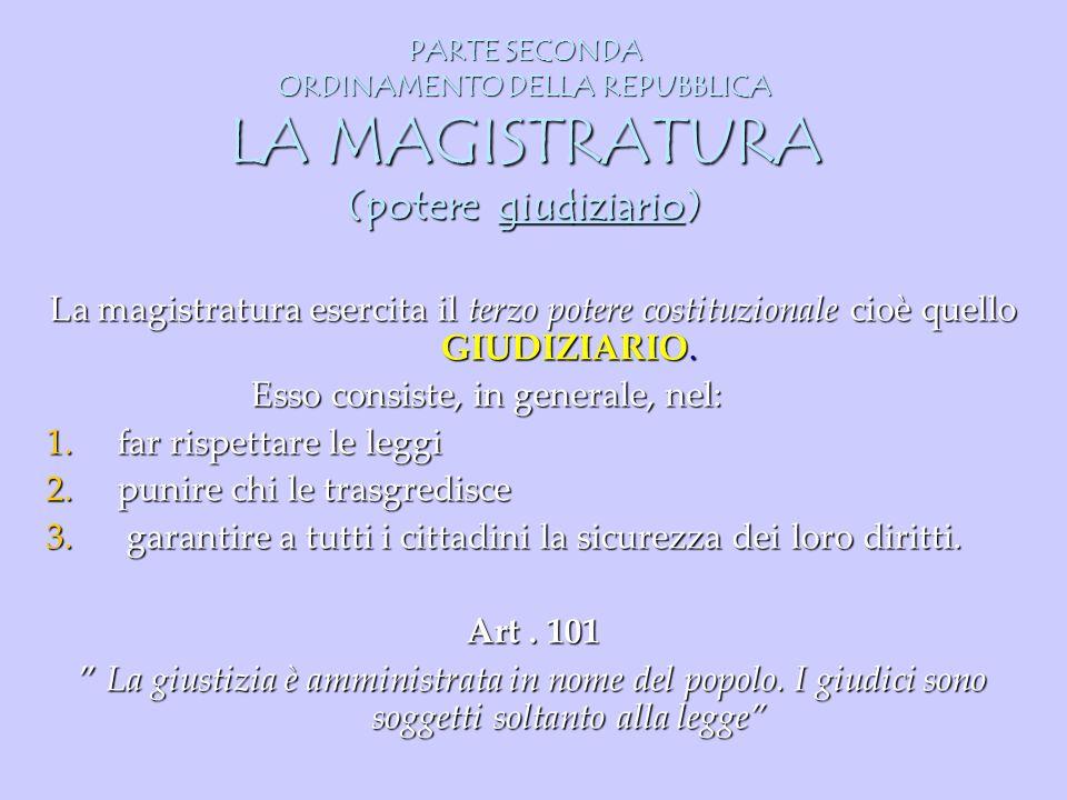 PARTE SECONDA ORDINAMENTO DELLA REPUBBLICA LA MAGISTRATURA (potere giudiziario) La magistratura esercita il terzo potere costituzionale cioè quello GI